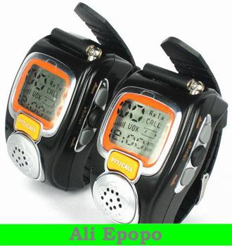 Backlit Pair LCD Two Way Radio Intercom Digital Mobile Walkie Talkie, Travel Wrist Watch Dual Band Interphone Transceiver