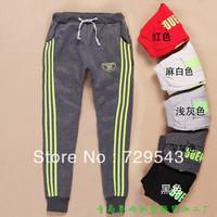 Plus velvet thick neon green letter casual sports pants female