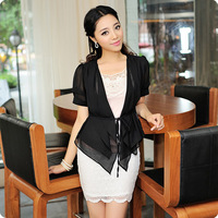 New Arrival 2013 Plus Size Women Chiffon Capelet Short Sleeve Adjustable Waist Black Beige Blue