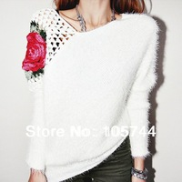 Free shipping 2014 new arrive plus size lady casual big flower hollow out sweater,high quality fashion lady winter sweater !