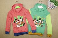 Autumn new arrival 2014 child o-neck sweatshirt 100% cotton cartoon hooded outerwear