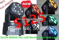 5pcs x15W RGBAW 5in1 LED Moving Head Wash Light Mini KTV Lighting Disco DJ