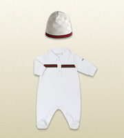 Retail, 100% cotton new 2014 long sleeve Baby rompers +Hat 2pcs baby boy Clothing Set For Newborn baby clothing
