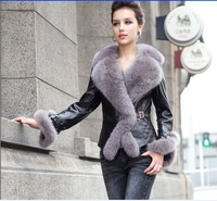 Genuine Genuine Sheepskin  Leather Fur Slim Coat Female Outwear With Large Oversized Withe Silver Fox Fur Collar  Free Shipping