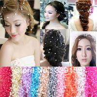 Hot Sale! 50pcs/bag Pretty (8mm+3mm) Plastic Pearl Trim Pearl Bead String  Wedding Supplies Crafts /Head ware  Free Shipping