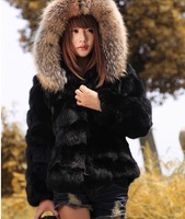 Nature women jacket winter rabbit fur coat with raccoon fur collar Brand fur outerwear ems Free shipping Promotion