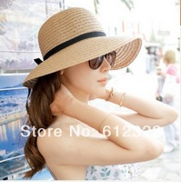 Wholesale 2014 Classical Simple Design Wide Brim Summer Straw Hats For Women Floppy Sun Cap Beach Free Shipping