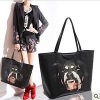 Free shipping 2013 new fashion printed handbags, handbags vicious dog dog's head, three packages combining portable shoulder bag