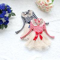 Free Shipping(4pcs/lot)girl's fashion sequin Collar dress kids Striped dress Children's Net Yarn Tulle Ball Gown Dresses