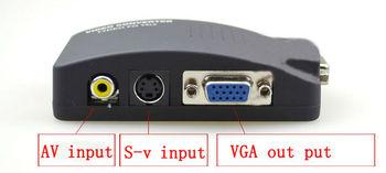 Free shipping---AV/S Video To VGA TV CCTV BNC/RCA S-Video AV to VGA Converter Adapter Converter