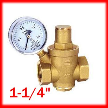 1 2 1 1 4 brass dn32 water pressure regulator with gauge pressure mai. Black Bedroom Furniture Sets. Home Design Ideas