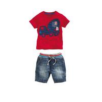 2014 Kid Apparel Casual denim set, baby boys  2-piece clothing set red t-shirt + jean short suit set