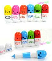 3 PCS Cute Smiling Face Pill Ball Point Pen Telescopic Vitamin Capsule Ballpen