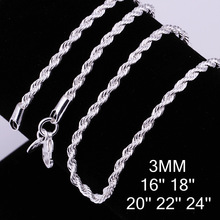 Promotions! one piece 925 sterling Silver 3mm rope chain 24inch FREE Shipping,925 sterling silver rope necklace CC014-5