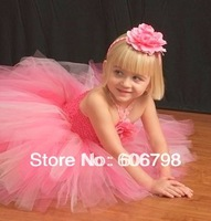 Lovely Fluffy Pink and Soft Pink Girls Tutu Dress With Flower Headband Girls Dress Set For Birthday Party Photography