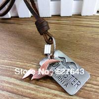 VN362/Wholesale(Min.Order $15)100% Genuine Leather 2013 Women Necklaces Punk Vintage Leather Necklace Hawk Pendant Gifts