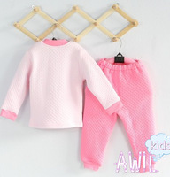 Free shipping 2013 new arrivel fashion 100% cotton thermal underwear kids set, Homewear long-sleeve T-shirt+ pants 4sets/lot