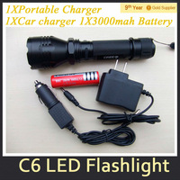 CREE Q5 600 Lumen 3 Mode UltraFire C6 LED Flashlight Rechargeable LED Torch+Car charger+ Portable Charger+1x3000mah Battery