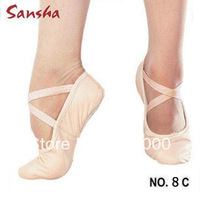 Sansha canvas ballet soft shoes stretchy elastics adult dance shoes slippers free shipping