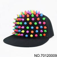 handmade Multicolour - rivet spike punk hiphop black flat brim baseball cap snapbacks basketball caps hats free shipping 130709