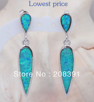 Free shipping Wholesale & Retail Blue Fire Opal 925 Sterling Silver Dangle Earrings Fashionl Jewelry*Opal Jewelry OE074