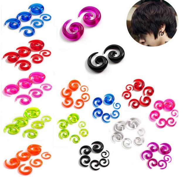 12pcs Punk Spiral Taper Gauge Ear Plug Expander Stretcher Flesh Tunnel Piercing(China (Mainland))