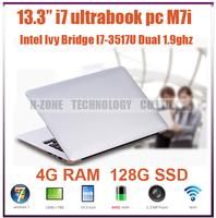 """Freeshipping 13.3"""" ultrabook laptop computer I7 3517U dual core 1.9ghz 4G RAM 128G SSD Windows 7 WIFI HDMI 8400mah battery"""