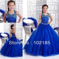 Beautiful kids children's halter beaded floor length royal blue long girl's pageant dresses JFD019