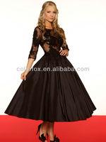 Black Lace Appliqued Three-quarter Length Sheer Sleeves Form-fitting Bodice Vintage-inspired Tea Length Full Formal Dress