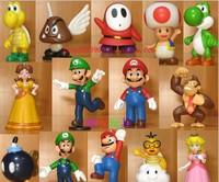 "Wholesale Retail Free Shipping Plastic Super Mario Bros 1-3"" 18PCS/SET Action figures Toys PVC Doll Gifts"