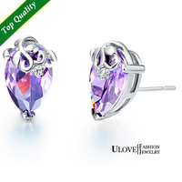 Free Shipping 925 Sterling Silver Stud Earrings CZ Zircon For Women Weding New Coming Elegant Water Drop Purple/blue Crystal