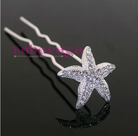 10pcs Rhinestone Starfish Hair Pins Wedding Bride Clips Free Shipping