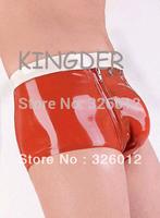 Latex fashion tight briefs sexy latex customize tight-fitting underwear with zipper