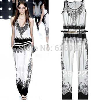 2013 Женщины's Summer Черный & Белый Цвет Contrast Retro Luxurious Ethnic ...