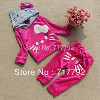 2015 Retail New design cartoon girls hoodies velvet pants kids clothes free shipping