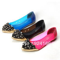 Vintage beaded women's series flat heel shoes transparent color block decoration shallow mouth pointed toe shoes boat shoes 305