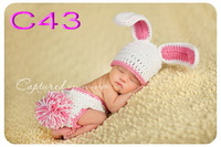 free shipping, 80 set/lot Bunny Hat & diaper Cover sets,newborn Photo Prop,bunny Set
