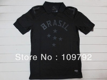 free shipping!!! 13/14 player version best thai quality Brazil black NEYMAR  OSCAR David Luiz Hulk Fred soccer jersey shirt