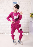 Retail 2014 New Girl's Tracksuits Children sport suits bow Girl's Cartoon Hooded sweater + pants suits Free Shipping