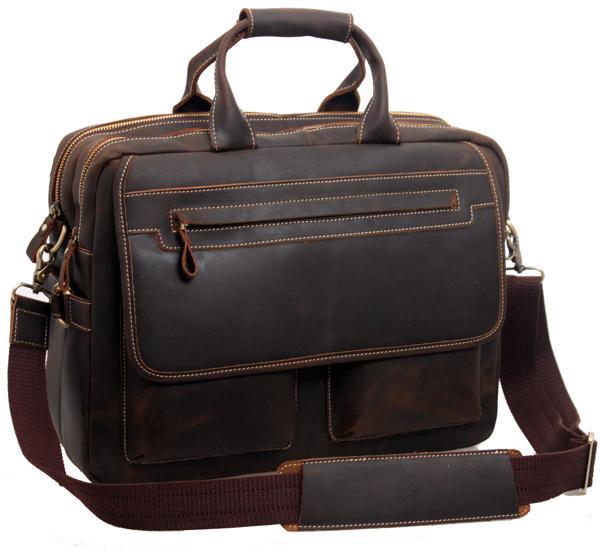 Free shipping men vintage style crazy horse business big briefcases genuine leather handbag 15'laptop totes shoulder bag 2951(China (Mainland))
