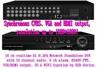 16Ch Hybrid DVR D1 16 Ch Real-time Full D1 H.264 Standalone CCTV DVR Recorder 16CH Audio 8CH Alarm PTZ HDMI Output 3G&WIFI