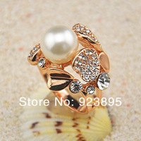 Free shipping 2013 ladies wedding ring with 18k gold plated and pearl