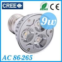 5PCS/Lot Cree E27 led Bulb 9W Led Light Led Lamp Led Spotlight AC85-265V CE/RoHS Warm/Cool WhiteHigh Power Energy Saving