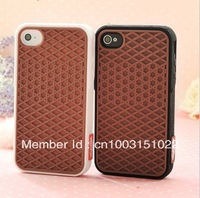 10pcs/lot Colorful Waffle Sole soft silicone rubber cover case For iphone 4 4s,free shipping