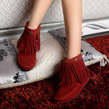hot sell new tassels single short  flats casual boots women sexy fashion lovely vintage shoes     asl-104