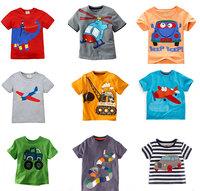 Retail Brand  2015 Children's T-shirt  Baby Boys Tshirts Clothing  Summer tshirt boys Short Cotton Cartoon car animal 22-42