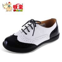 Shepherd boys shoes girls shoes children leather toe layer of leather shiny patent leather shoes lace   Size 31-37