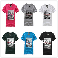 Korean Style new arrival 2013 brief solid color Battern print korean style men short-sleeve summer T-shirt clothes Promotional