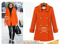 2013 spring epaulette double breasted thickening wool overcoat fashion wool fashion wool coat outerwear female