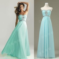 Latest Designs Prom Long Chiffon Cheap Evening Dress 2014 Lace-up Back Evening gown Prom Dresses